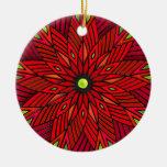 Poinsettia moderno del art déco - redondo (persona ornamento para arbol de navidad