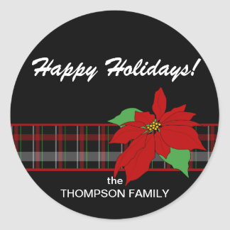 Poinsettia n Plaid Holiday Sticker