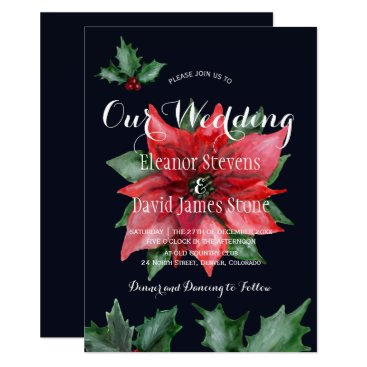 Beach Themed Poinsettia navy red winter elegant wedding card