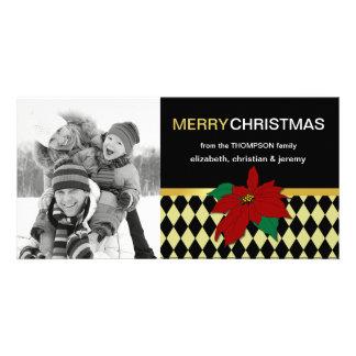 Poinsettia on Argyle Christmas Photo Card-apple