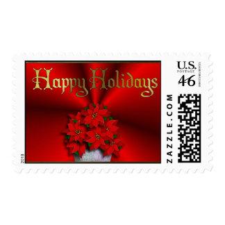 Poinsettia On Red Satin Postage Stamp