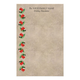 Poinsettia On Red Satin Stationery Design