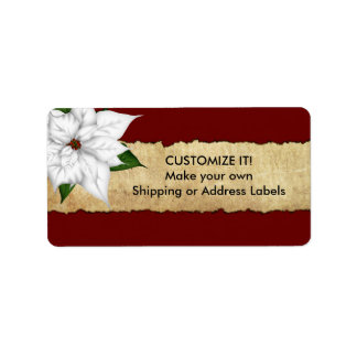 Poinsettia Parchment Stickers Custom Address Labels
