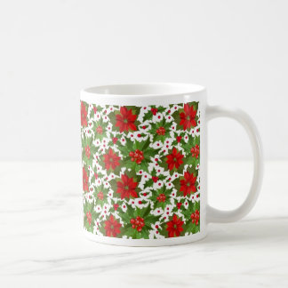 Poinsettia Pattern Basic White Mug