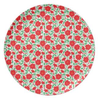 Poinsettia Pattern Plate