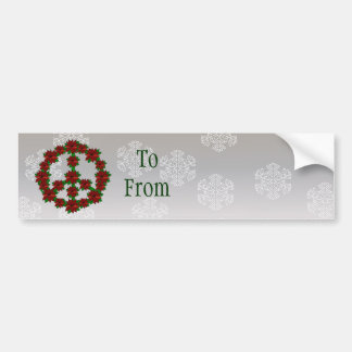 Poinsettia Peace Sign Bumper Sticker