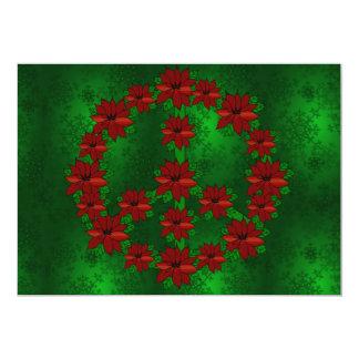 Poinsettia Peace Sign Card