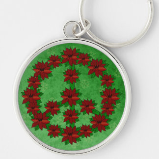 Poinsettia Peace Sign Keychain