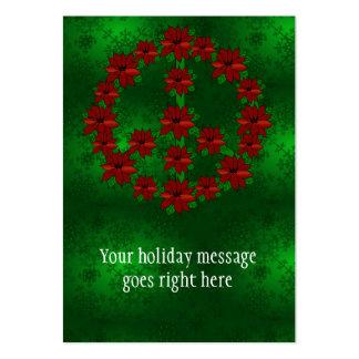 Poinsettia Peace Sign Large Business Card