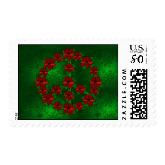 Poinsettia Peace Sign Postage