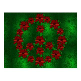 Poinsettia Peace Sign Postcard