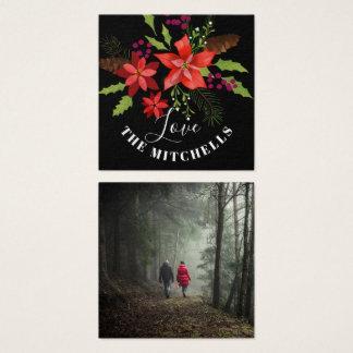 Poinsettia Pine Mistletoe Holly Christmas Gift Square Business Card