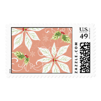 Poinsettia  |  Pink Holiday Postage Stamp
