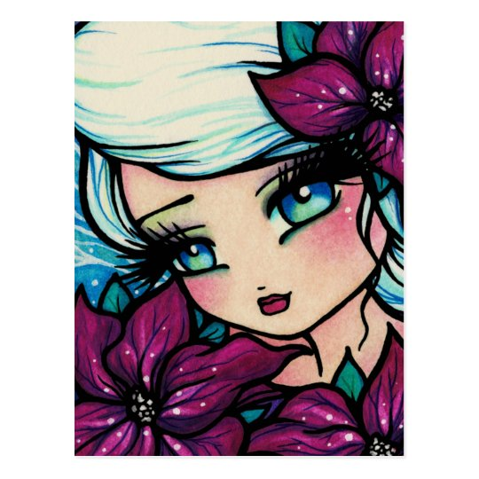 Poinsettia Pixie Christmas Fairy Snow Postcard