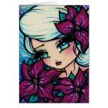 Poinsettia Pixie Winter Fairy Christmas Art Card