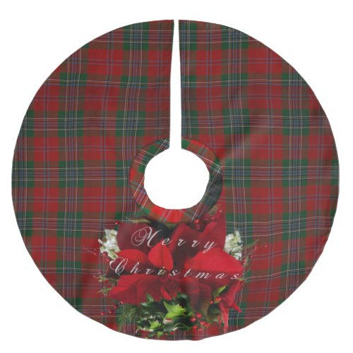 Poinsettia Plaid Christmas Brushed Polyester Tree Skirt