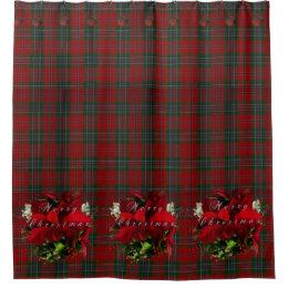 Poinsettia Plaid Christmas Shower Curtain