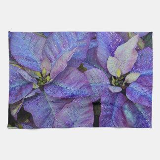 Poinsettia púrpura del navidad toallas de mano