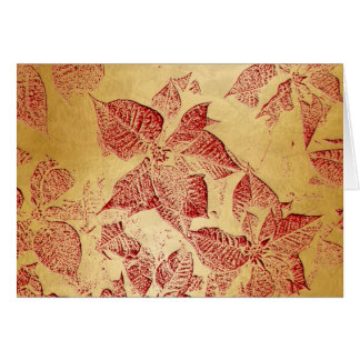 Poinsettia Red Embossed on Gold-Yule Greeting Card