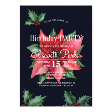 Beach Themed Poinsettia red green dark blue birthday party card