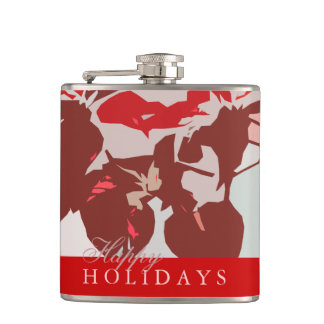 Poinsettia Red Modern Happy Holidays Flask
