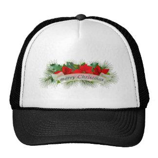 Poinsettia rojo de las Felices Navidad Gorras