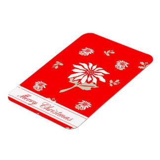 Poinsettia rojo del navidad imanes rectangulares