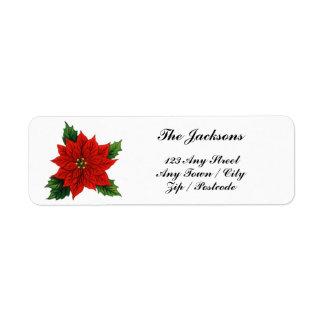 Poinsettia rojo etiqueta de remitente