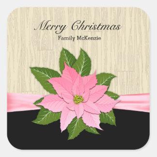 Poinsettia rosado pegatina cuadrada
