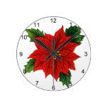 Poinsettia Round Clocks