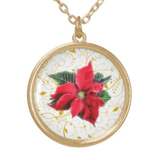 Poinsettia Round Pendant Necklace