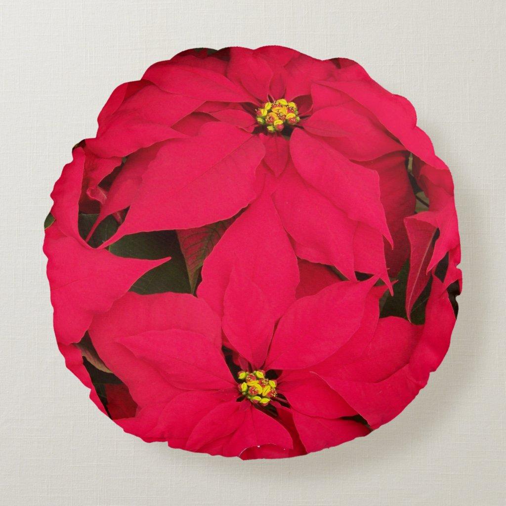 Poinsettia Round Pillow