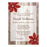 Poinsettia Rustic Barn Wood Bridal Shower 5x7 Paper Invitation Card
