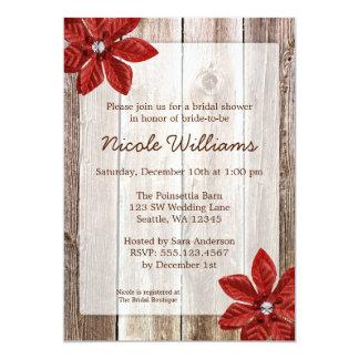 Poinsettia Rustic Barn Wood Bridal Shower 5x7 Paper Invitation Card