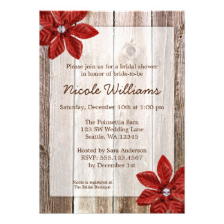 Poinsettia Rustic Barn Wood Bridal Shower Personalized Invitations
