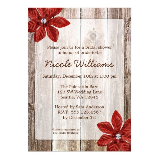 Poinsettia Rustic Barn Wood Bridal Shower Personalized Invitations