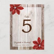 Poinsettia Rustic Barn Wood Wedding Table Number