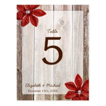 Poinsettia Rustic Barn Wood Wedding Table Number