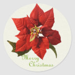 Poinsettia Season Greetings Round Stickers