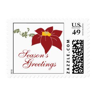 Poinsettia Season's Greetings Holiday Stamp