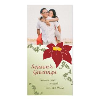 Poinsettia Season's Greetings Photo Greeting Card