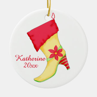 Poinsettia Shoe Lover Christmas Ornament with Name