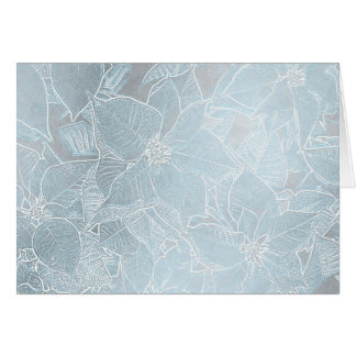 Poinsettia Silver & Blue - Yule Greeting Card