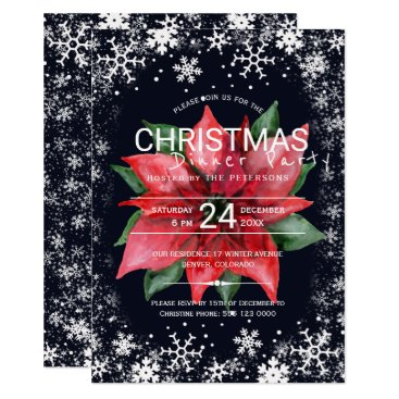 Beach Themed Poinsettia snowflakes Christmas dinner party Card