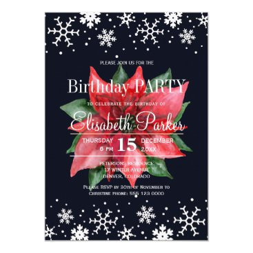 Beach Themed Poinsettia snowflakes dark blue birthday party card