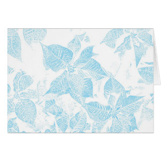 Poinsettia Stamped Blue - Yule Greeting Card