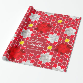 Poinsettia Star pattern red Christmas family photo Wrapping Paper