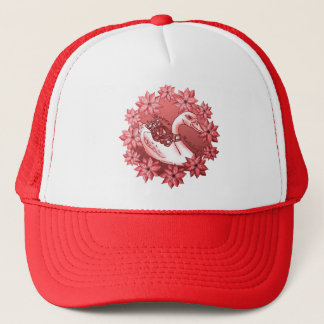 Poinsettia Swan Trucker Hat