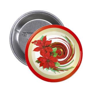 Poinsettia Swirl Button