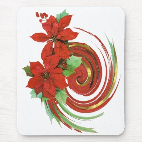 Poinsettia Swirl Mouse Pad